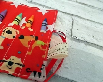 Dog & Cat Crayon Roll, Pencil Roll, Crayon Holder, Pencil holder, Birthday Favors, Stocking Fillers