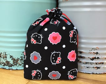 Medium 'Hello Kitty' Project, Knitting, Crochet, Needlework Bag