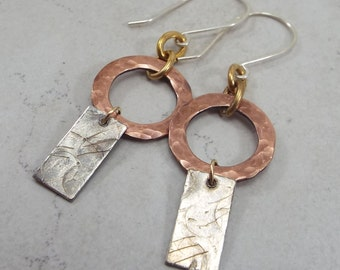 Gold filled and Textured Sterling Silver and Copper Mixed Metals Earrings