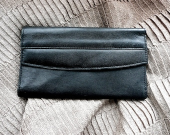 Vintage Wallet - Woman's Wallet - Black Leather - Fine Textured Large Wallet - Multipocket Billfold - Clutch Wallet -