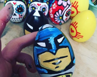 Batman Egg- 2 inch wooden hand painted Easter Egg
