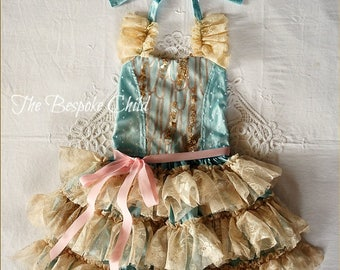 OOAK Silk Ada Vintage Party Dress in Aqua Blue, Ivory & Pink for Birthday, Prop, Costume or Occasion Handmade