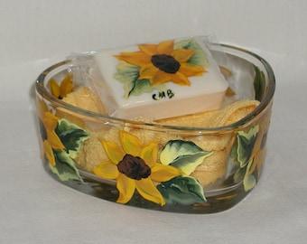 Handpainted Sunflower Heart Dish Soap and Washcloth