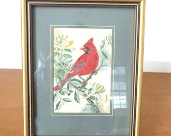 Woven silk cardinal from the Cash's Collector Range, Jacquard loom artistry, Coventry, England