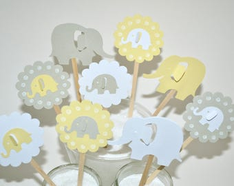 12 Yellow Elephant Cupcake Toppers / Elephant Baby Shower Invitation / Elephant Party Decor / Elephant Birthday Decor / Elephant Baby Shower