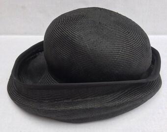 Handmade Black Straw Cloche Hat Church Lady Easter Derby Hat Millinery England