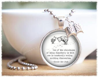 Winnie the Pooh Pendant • Pooh Quotes • Book Necklace • Best Friend Gift • Pooh Necklace • Book Lover Gifts • AA Milne Quote