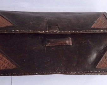 Vintage French Brown Leather Clutch Bag           BX  (03)