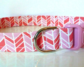 "Herringbone Dog Collar - Pink & Salmon - ""Rosanne"" - Free Colored Buckles"
