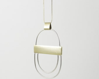 """Double Double Necklace - Sterling Silver and Brass Hoop Statement Necklace on 28"""" Snake Chain"""