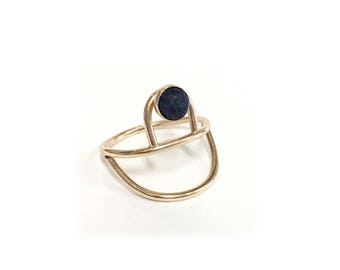 Double Arc Gold Ring - Choose your Stone - Turquoise - Moonstone - Pyrite - Onyx - 14/20 Gold Fill - Minimal Modern