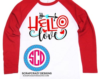 Valentines Day Shirt, Toddler Hello Love, Youth Clothing, Baseball Style Tee, Love Tee, Valentines