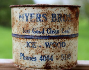 """Myers Bros """"Just Good Clean Coal """" 2 cup sifter advertisement Ice -Wood early 1900's advertising"""