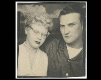 Vintage PhotoBooth Arcade Photo, c1950s: Couple #3 (74568)