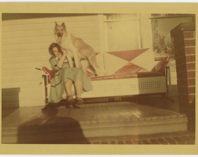 Vintage 1953 Kodacolor Print Snapshot Photo: Girl & Dog on Front Porch  (72551)