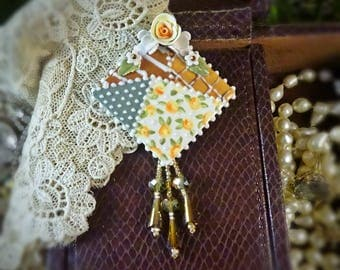 Brooch Earth Tone Patchwork Square Pin
