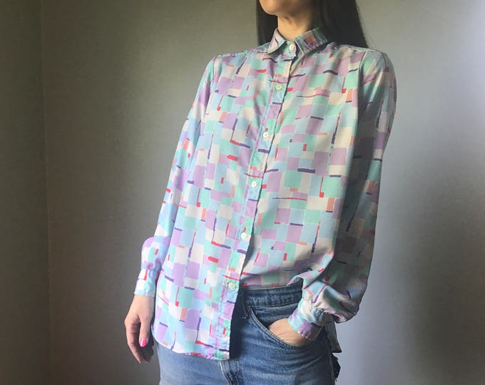 Vintage 80s Silky Abstract Watercolor Blouse