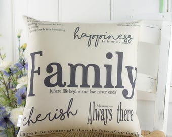 Family Word Pillow. Housewarming gift. Gift for her.