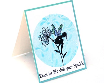 fairy card, tinkerbell silhouette, dandelion flower, sparkle, inspirational blank card, fairy wings note card