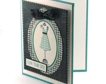 dressmaker card, fashion,style sense seamstress blank card, gingham dress form, i love your style