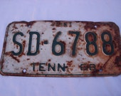 Industrial Decor Vintage Tennessee License Plate 1968 Salvaged