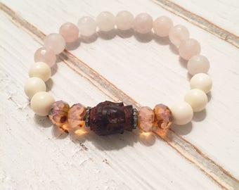 Yoga Buddha Stretch Bracelet, Diamonds, Rose quartz, White Bone Beads, Organic Rustic White Bone Beads, pink, Boho Layering