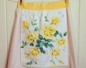 vintage autumn yellow rose half apron