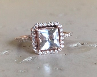 White Sapphire Engagement Ring- Rose Gold Sapphire Engagement Ring- Halo Princess-Cut Sapphire Promise Ring- Solitaire Sapphire Diamond Ring