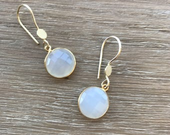 Moonstone Stone Earrings- Gemstone Silver Earrings- Earrings- Gold Moonstone Earring- Drop Moonstone Earrings- Silver- Silver Stone Earrings