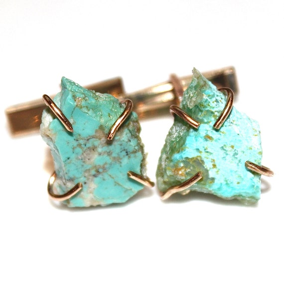 Raw Turquoise Cuff Links Rough Turquoise Mens Cufflink Mens Cuff Link Formal Cufflink Groom Cufflink Best Man Cufflink Wedding Cufflink