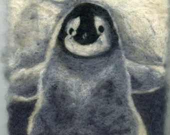 Needle felted penguin chick print 20 x 20 cm square
