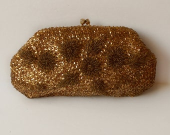 Vintage Gold Sequined Beaded Clutch Floral design Hand Made in British Hong Kong