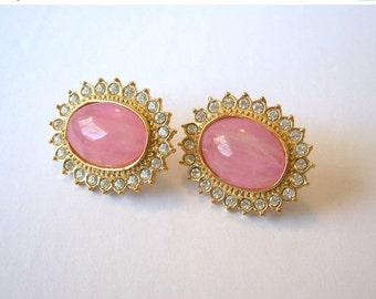 ON SALE Vintage Butler Earrings Rose Quartz Cabochon Clear Rhinestones Pierced Fifth Avenue
