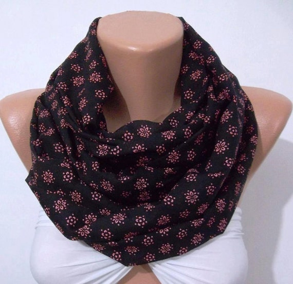 Scarf Christmas Gift Holiday Gift Scarf Infinity Scarf Loop Scarf Circle Scarf  black-pink Fashion Accessories Gift for Her