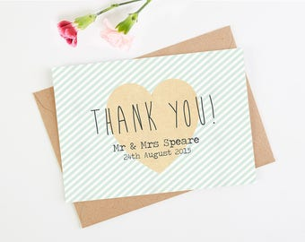 Wedding Thank You Card - Mint Stripe