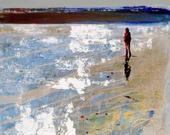 "BEACH WALK print - print of painting ""Peaceful Estuary"" by Melanie McDonald - beach wall art - beach print of woman walking on beach"