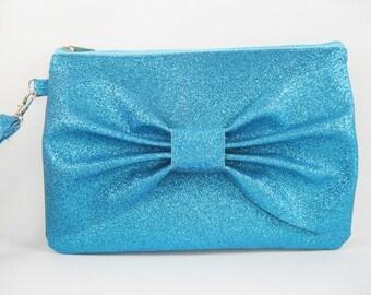 SUPER SALE - Blue Glitter Bow Clutch - Bridal Clutch, Bridesmaid Clutch, Wedding Clutch, Wedding GIft - Made To Order