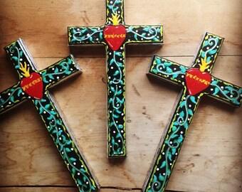 CROSS crosses hand painted folk art religious christian religious wall decor gift cross crosses