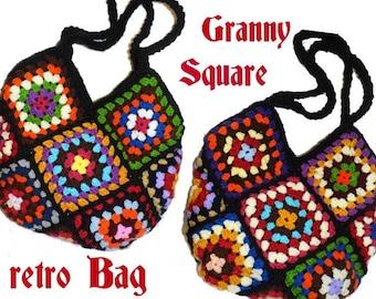 Crochet Bag * RetrO BAG *  Granny Square,  Hippiebag, upcicled Bag,