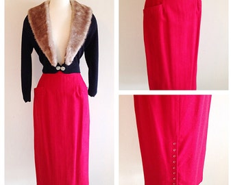 Vintage 1980s Does 1940s Red Wool Pencil Skirt