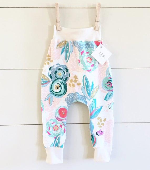 Handmade Hipster Baby Leggings | Baby Harem Pants | Baby Harems | Baby girl Pants Leggings| Floral Print Leggings