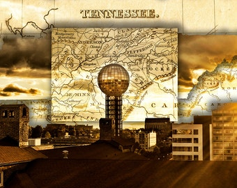sunsphere worlds fair park 1982 tower landmark beacon knoxville tennessee sunset sundown map skyline art photographic