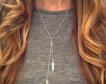 Silver Plated Tassel Feather Necklace