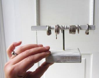Tiny T-bar Ring Holder Display Organizer - Jewelry Display - White Shabby Chic