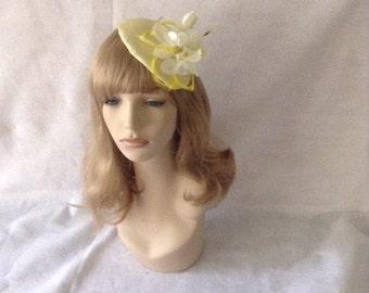 Yellow Wedding Fascinator hat, Yellow Kentucky Derby Hat for Races, Yellow Straw Teardrop Mini Hat,