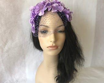 Spring Inspired Lilac flower Fascinator hat with birdcage veil, Lavender wedding hat, Flower Fascinator, Flower headpiece