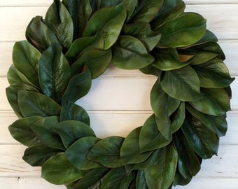 Farmhouse 24 Inch Magnolia Leaf Wreath--Farmhouse Magnolia Wreath