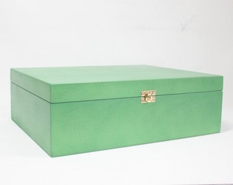 Green Wooden Box / Large Gift Box / Big Storage Box / Green Storage Box / 13.19 x 10.63 x 4.33 inch