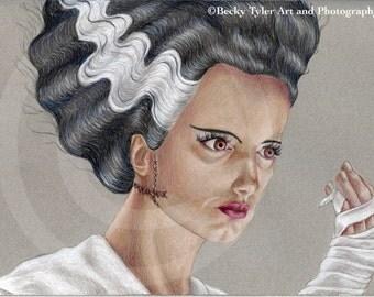 Elsa Lanchester in The Bride of Frankenstein Drawing
