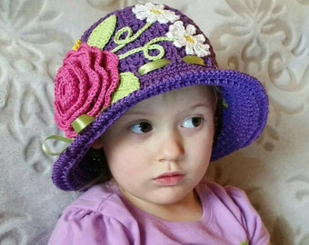 Crochet Cotton Cloche Sun Panama Hat Purple Baby Bonnet Hat with Roses, Daisies, Ribbon, And Pearls